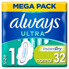 image 1 of Always Ultra Size 1 Sanitary Towels With Wings 32 Pack