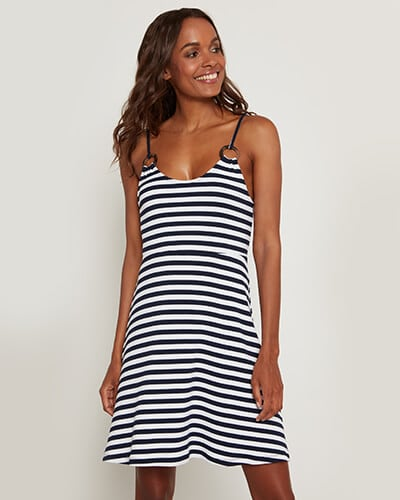 Strappy black and white stripe dress with circular strap detail