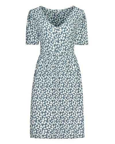 Short sleeve, V-neck navy dress with allover daisy print
