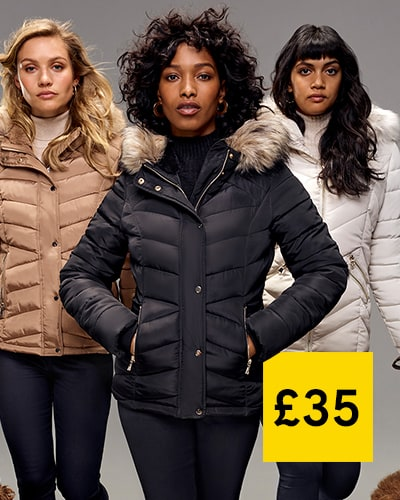 Women's padded jacket in 3 colourways: camel, black, bone white, with fur-lined hood and zipped pockets