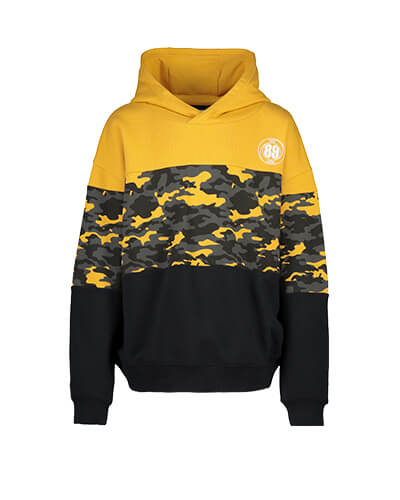 Orange and black block stripe hoodie with a black and orange camouflage stripe, and small, white NYC 89 Crew logo