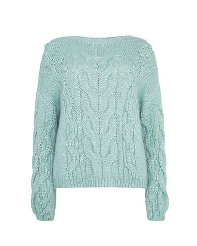 Cable knit jumper with bobble detail
