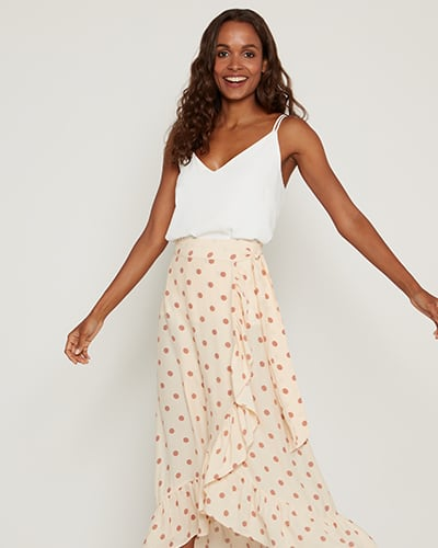 Tiered spotted skirt with a frill trim in cream with pink spots