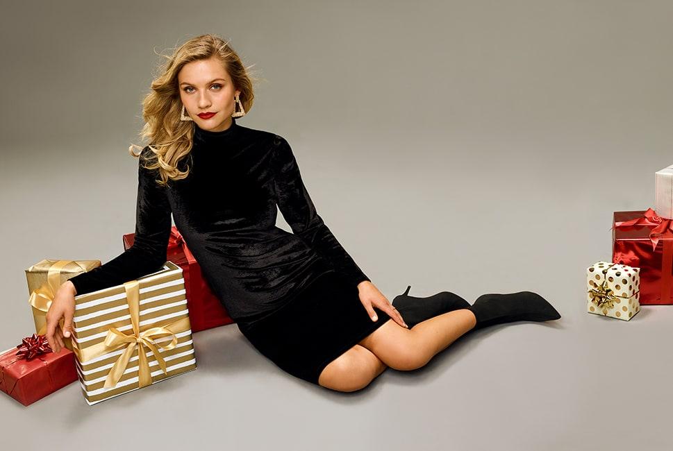 High-neck velour long-sleeve dress