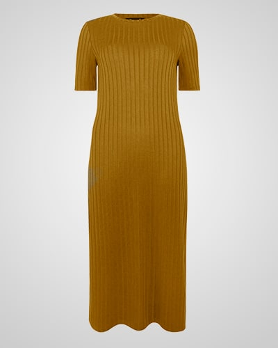 Khaki, longline, ribbed jersey dress