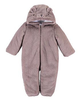 Furry, zip up pramsuit with novelty bear ears and face on hood