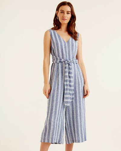 Sleeveless, v-neck, grey and white stripe jumpsuit with calf-length wide legs and wide fabric belt