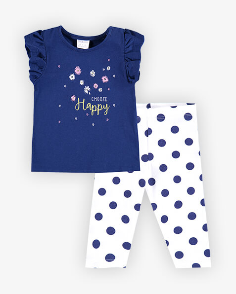 Navy top with ruffle cap sleeves and pink and yellow daisy placement print on front, and the words choose happy. Comes with navy spotted white leggings