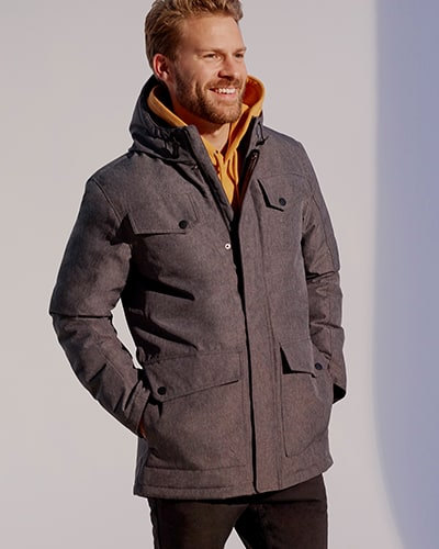 Dark grey, hooded, zip-up coat with 4 pockets with single popper buttons