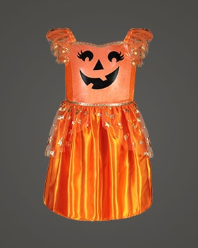 Orange dress with mesh cap sleeves, black pumpkin face carving and mesh layer with gold Halloween motifs