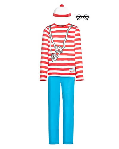 Long sleeve, red and white stripey top, with camera and binoculars placement print. Comes with blue trousers, bobble hat and glasses