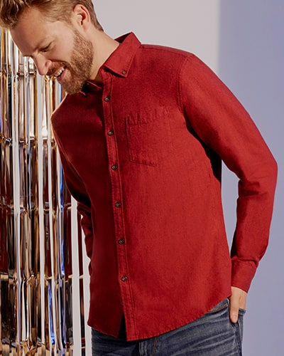 Red long sleeve shirt with chest pocket