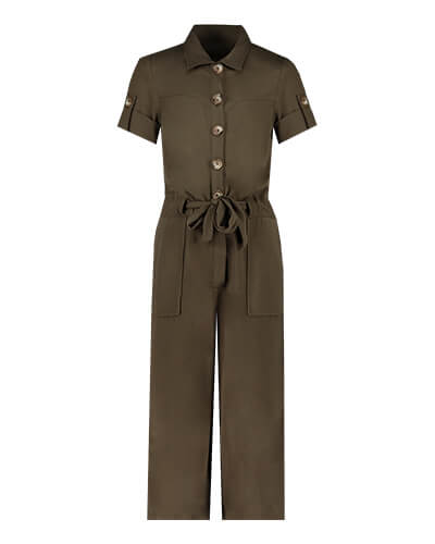 Short sleeve, buttoned boiler suit with sleeve button detail, side pockets and self-tie fabric belt
