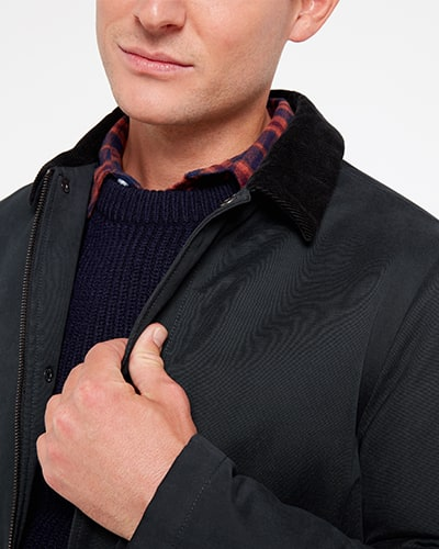 Dark navy jacket with black suede collar