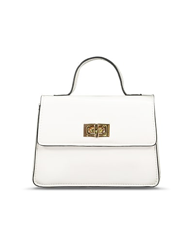 Smart white leather-look bag with black trim, with small handle and gold-coloured twist clasp