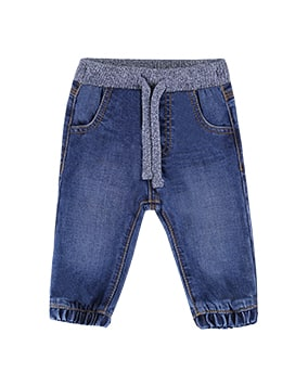 Blue denim jeans with knitted drawstring waist and elasticated cuffs