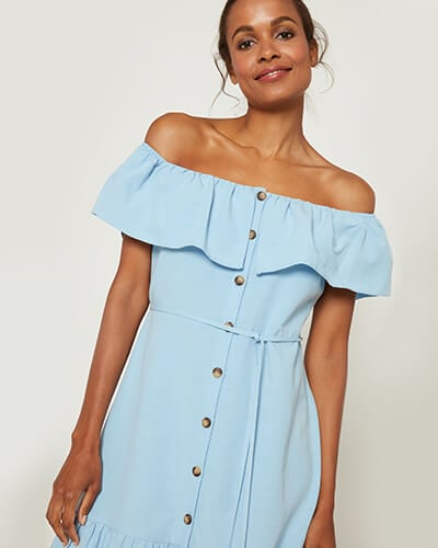 Light blue button-through dress with thin self-tie belt and frilled hem