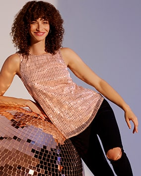 Sleeveless top with rows of round and square sequins