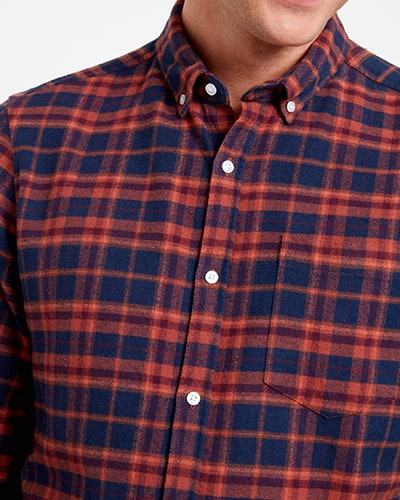 Red and blue check long-sleeve shirt