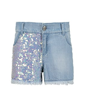 Denim shorts with sequins to front of one leg