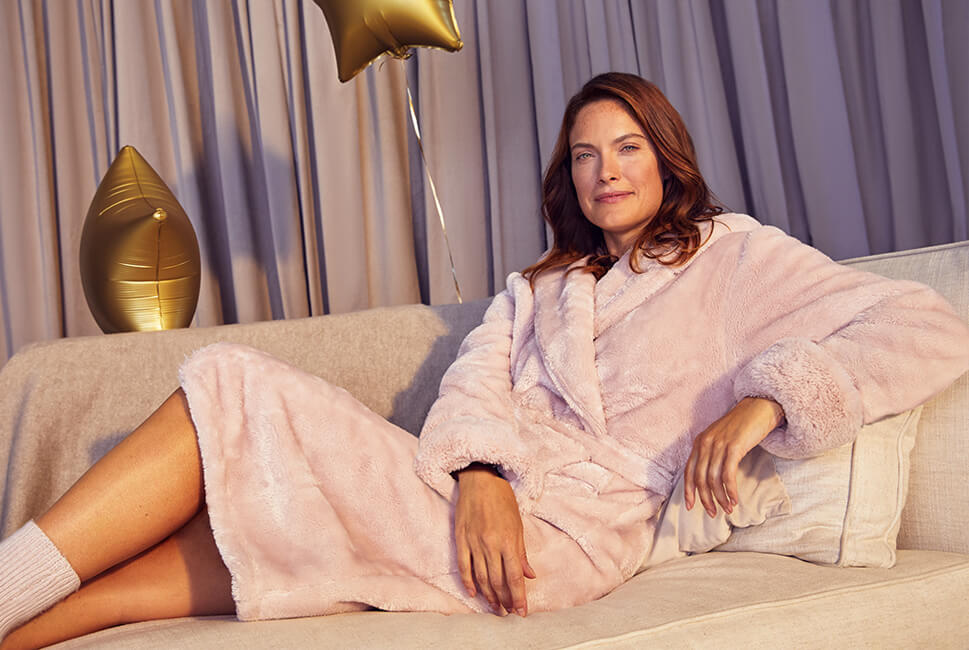 Thick fleece dressing gown