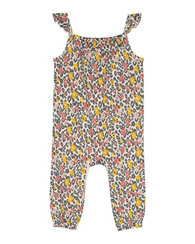 Sleeveless jumpsuit in pink, yellow and grey animal print with frilled straps