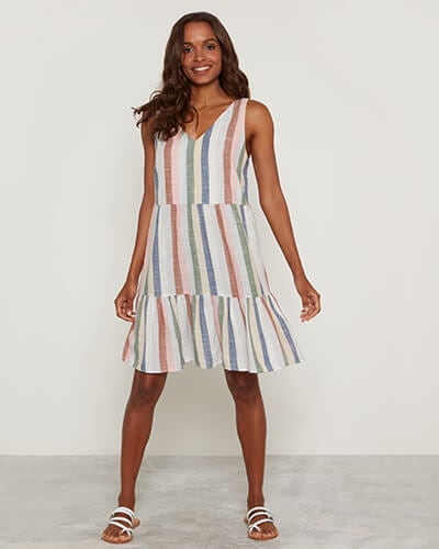 Sleeveless, knee-length dress with frilled hem and muted stripe design in red, pink, white, green, yellow and blue