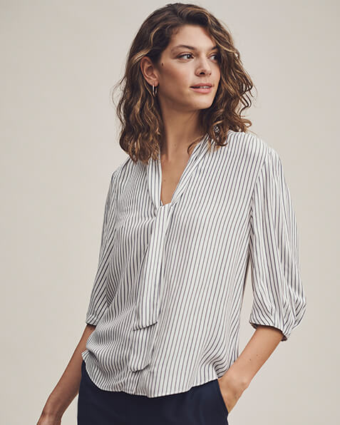 Black and white narrow stripe blouse with 3 quarter length sleeves