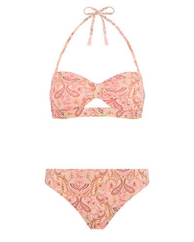 Halterneck bikini top with pink tassels on the straps