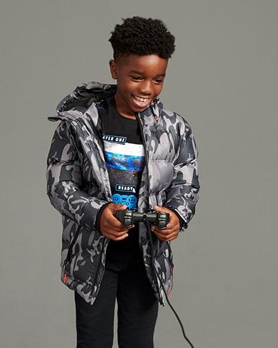 Grey camouflage design, zip up coat with hood