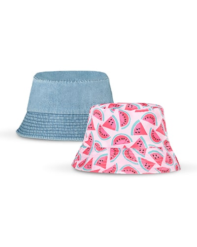 2 bucket hats. 1 is light blue denim and 1 is light pink with watermelon slice print