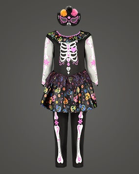 Black dress and long white sleeves and leggings with fun pink and white skeleton design. Dress also has frill collar and skirt section with colourful Mexican Day of the Dead-style skulls print. Comes with black eye mask decorated with orange, black and pink mesh balls