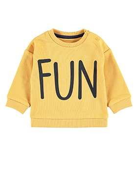 Yellow sweater with the word 'fun' in big black letters