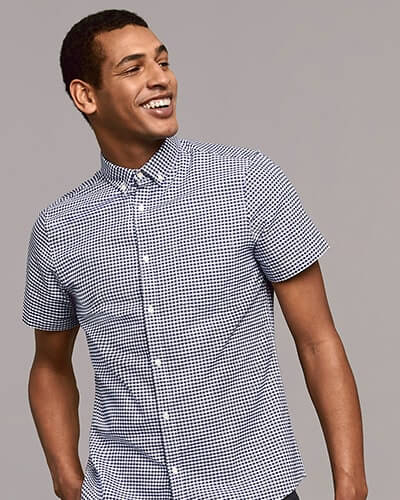 Short sleeve shirt in navy and white mini gingham pattern