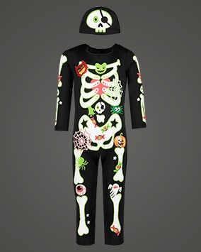 Black all-in-one costume with cute skeleton and Halloween graphics