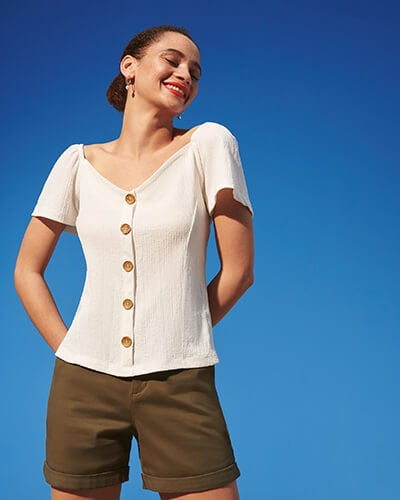 Short sleeve, button-through women's top