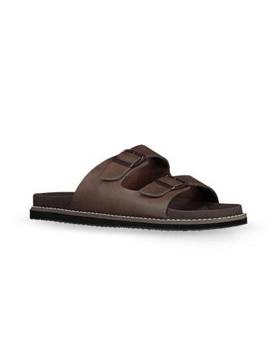 Leather-look brown open toe sandals with thick sole and 2 straps with buckles