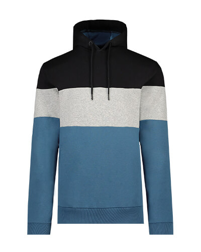 Blue and grey colour block hoodie