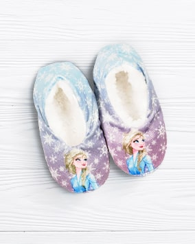 Elsa and snowflake print slippers have a white fleecy lining