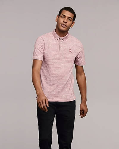 Raspberry pink and white slub fabric polo top with small stag logo