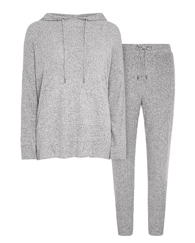 Grey hoodie with matching jogging bottoms