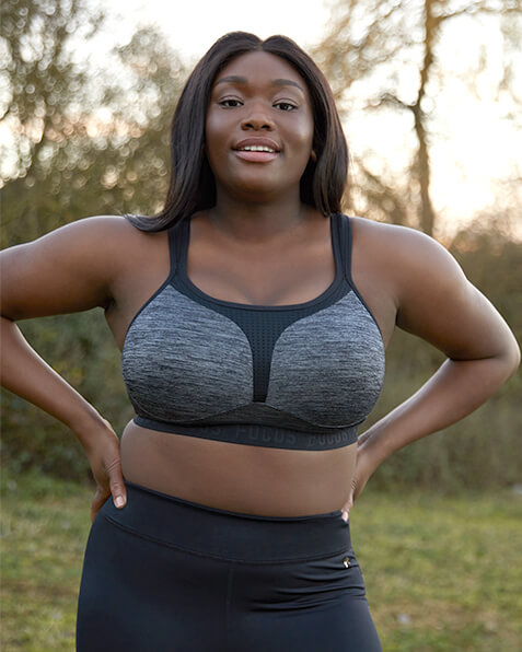 Grey textured sports bra with black outline