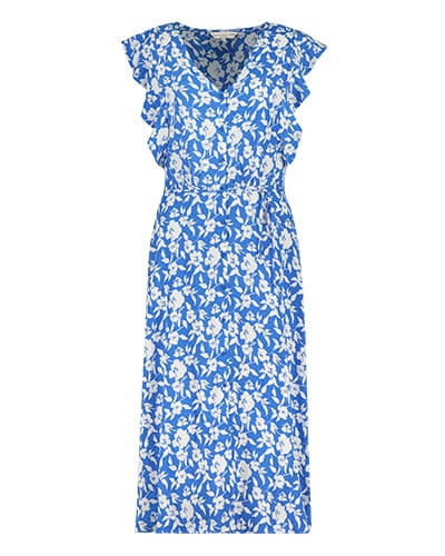 V-neck, long, button-through sky blue dress with white floral print, thin self-tie belt, and wide, frilled edge cap sleeves