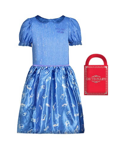Knee length, blue dress with short puff sleeves and the words Roald Dahl Matilda on left side of chest. Blue skirt is satiny with outlines of books in white. Comes with a mock red dictionary-styled bag