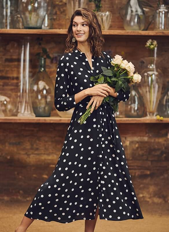 Long sleeve, button-through, flared black dress with large white spot print