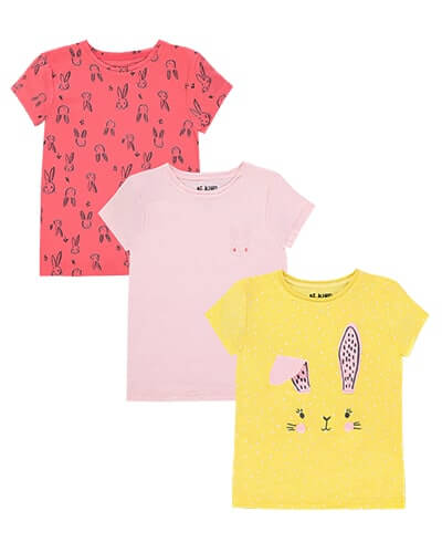First is coral pink with print of bunny head outlines in black. Second is pale pink with small bunny head print on chest. Third is yellow with white spots and pink bunny ears and face on front, with pink pom-pom cheeks