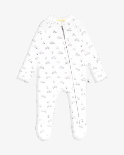 Zip up, long sleeve white sleepsuit with cute black line drawings of lions