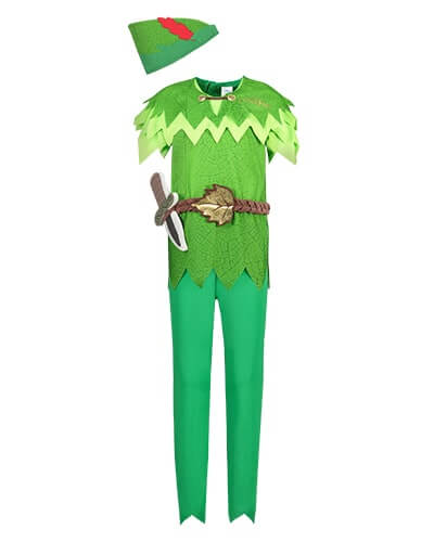 Short sleeve Peter Pan costume. Top half has green leaf shape detail, mock brown belt with leaf buckle, and mock dagger. Bottom half are green trousers. Comes with a green hat with a mock red feather
