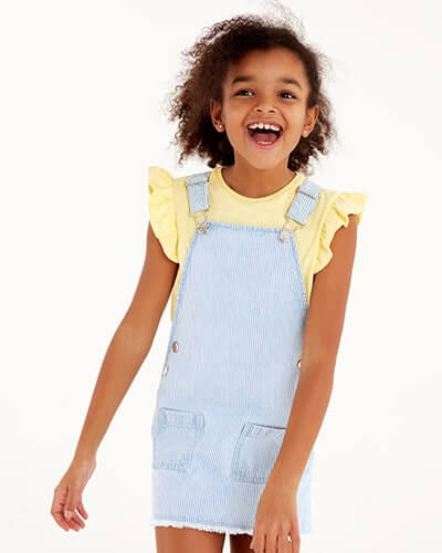 Short denim pinafore dress with thin pale blue and white stripes. Comes with pale yellow T-shirt with frilled cap sleeves