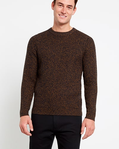 Orange and black yarn jumper